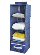 4-shelf Hanging Closet Organiser with Drawer, Thick Wooden Boards Inside, Suit for Clothes, Sweaters, Shoes Storage, Navy Blue Dot by I WILL