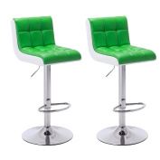 Hollylife Set of 2 Kitchen Breakfast Bar Stools with Back swivel bar stools Faux Leather Chair Height Adjustable (Green) - Gift for the father's day