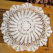 kilofly Crochet Cotton Lace Table Placemats Doilies Value Pack, 4pc, Daisy, White, 35cm