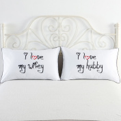 I love my wifey and I love my hubby couples pillowcases,Wedding Anniversary Gift His and Her Pillows Fun Gift for Lovers,couples,Husband and Wife Couple pillow case