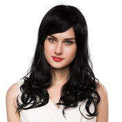 Mufly Long Black Wigs for Women Human Hair Wigs Mix Human Hair Body Wave Hair Wig Elegant Curly Wigs with Cpaless Cap 60cm for Daily Party Halloween