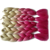 MZP African wigs chemical fibre gradient large braids dirty braided weaving hair access , metres white + pink
