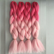 MZP African wigs chemical fibre gradient large braids dirty braided weaving hair access , pink + light powder