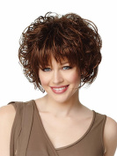 MIKWIG Premium Short Curly Dark Brown Synthetic Hair Wigs with Few Bangs For Women