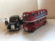 London Metallic Double Decker Bus & Taxi Pull Back & Go Action Souvenir Toy Gift