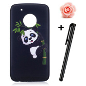 Motorola Moto G5 Plus Case,Moto G5 Plus Matte Cover,TOYYM Ultra Slim 3D Animal Flower Pattern Design Anti-Scratch Shockproof Silicone Soft TPU Bumper Case Matte Black Gel Rubber Protective Back Case Cover Skin for Motorola Moto G5 Plus