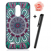 LG K8 (2017) Case,LG K8 (2017) Matte Cover,TOYYM Ultra Slim 3D Animal Flower Pattern Design Anti-Scratch Shockproof Silicone Soft TPU Bumper Case Matte Black Gel Rubber Protective Back Case Cover Skin for LG K8