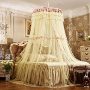 WANGXQ Mosquito Protection Dome Ceiling Landing Princess Wind Encryption Increase Free Installation Mosquito Nets Polyester , beige , 150cm