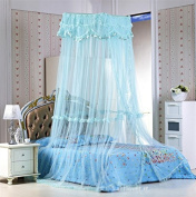Buluke Square dome hanging lace princess mosquito nets,blue
