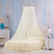 Buluke Palace style dome floor mosquito nets for bedroom,light yellow