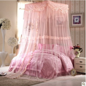 Buluke Girl bedroom romantic palace-style lace square top mosquito nets,yellow