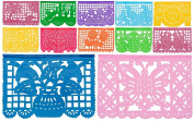 "Plastic Medium Mexican Papel Picado Banner ""Salio El Sol"" - 12 Tissue Panels Multi-Coloured - Designs and Colours as Pictured by Paper Full of Wishes"