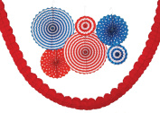 Haute Soiree - 4th of July Party Decoration Pack- 12 Fans and 2 Streamers for Indoors or Outdoors