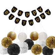 Paxcoo Black and Gold Happy Birthday Banner with Tissue Pom Poms Paper Lanterns for Party Decorations