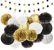 Wcaro Mixed Gold Black White Colour Paper Lanterns Paper Balls Tissue Paper Pom Poms Paper Honeycomb Balls Paper Flowers Star Garland Themed Party Hanging Decor Favour Graduation Party Decoration