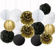 Wcaro Mixed Gold Black White Colour Paper Lanterns Paper Balls Tissue Paper Pom Poms Paper Honeycomb Balls Paper Flowers Themed Party Hanging Decor Favour Graduation Party Decoration