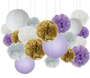Furuix 20pcs White Purple Gold Tissue Paper Pom Pom Paper Lanterns Mixed Package for Purple Themed Party, Purple Bridal Shower Decor Purple Baby Shower Decoration