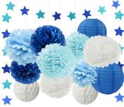 Furuix 13pcs White Navy Blue Baby Blue Tissue Paper Pom Pom Paper Lanterns Blue Star Garland Honeycomb Ball for Birthday Decor, Bridal Shower Decor, Boy Baby Shower Decoration