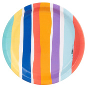 Colourful Pom Rainbow Stripe Party Supplies Dinner Plate