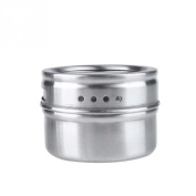 erthome 1PC Stainless Steel Magnetic Spice Storage Jar Tins Container