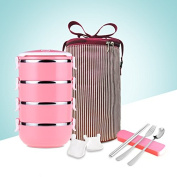 Luckyfree Lunch Box Stainless Steel Students Adult Picnic Bento Boxes,Pink 4 Layer+Barrel+Tableware