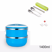 Luckyfree Lunch Box Stainless Steel Circular Students Adult Picnic Bento Boxes,Blue Double