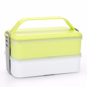 Luckyfree Lunch Box Stainless Steel Students Adult Picnic Bento Boxes 11*14.8*19Cm,Rectangular Green