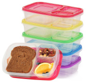 Assorted-Colours 3-Compartment Bento Lunch Box Plastic Food Container Set-3-4-5 Microwavable, Dishwasher Safe & Eco-Friendly Box Containers