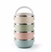 Luckyfree Lunch Box Stainless Steel Students Adult Picnic Bento Boxes 4 Layer