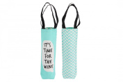 """Assorted Slogans Cheeky Bubbles Canvas Wine Bottle Gift Bag - Bags - """"It's Time for the Wine"""""""