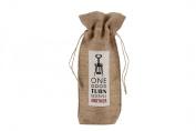 "Assorted Slogans Jute Wine Bottle Gift Bag - Bags - Hessian Natural - ""One Good Turn Deserves Another"""