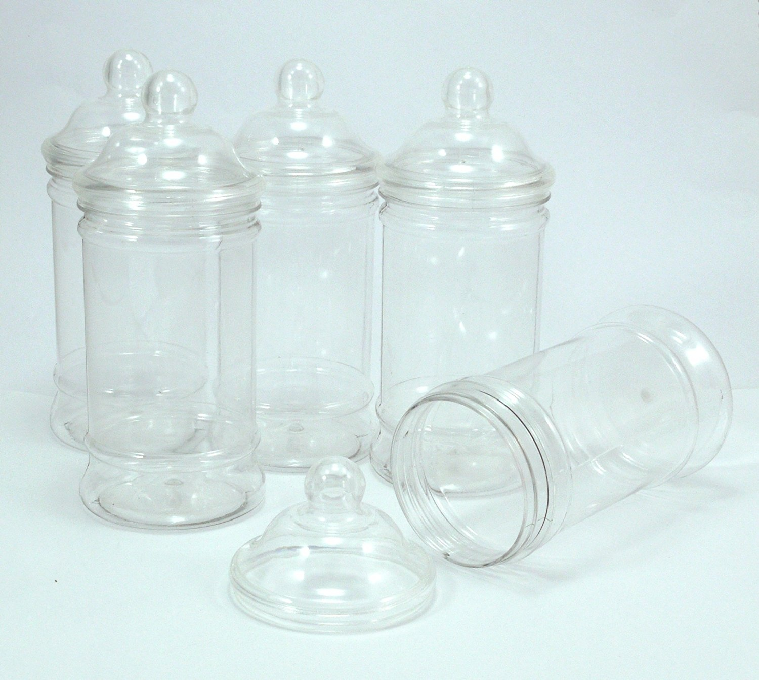 028eaab3950a PLASTIC JAR PACK OF 5 EMPTY CLEAR PLASTIC JARS WITH DECORATIVE VICTORIAN  STYLE 'BOBBLE' SCREW TOP LIDS by Britten & James®. Brand new food grade PET  ...