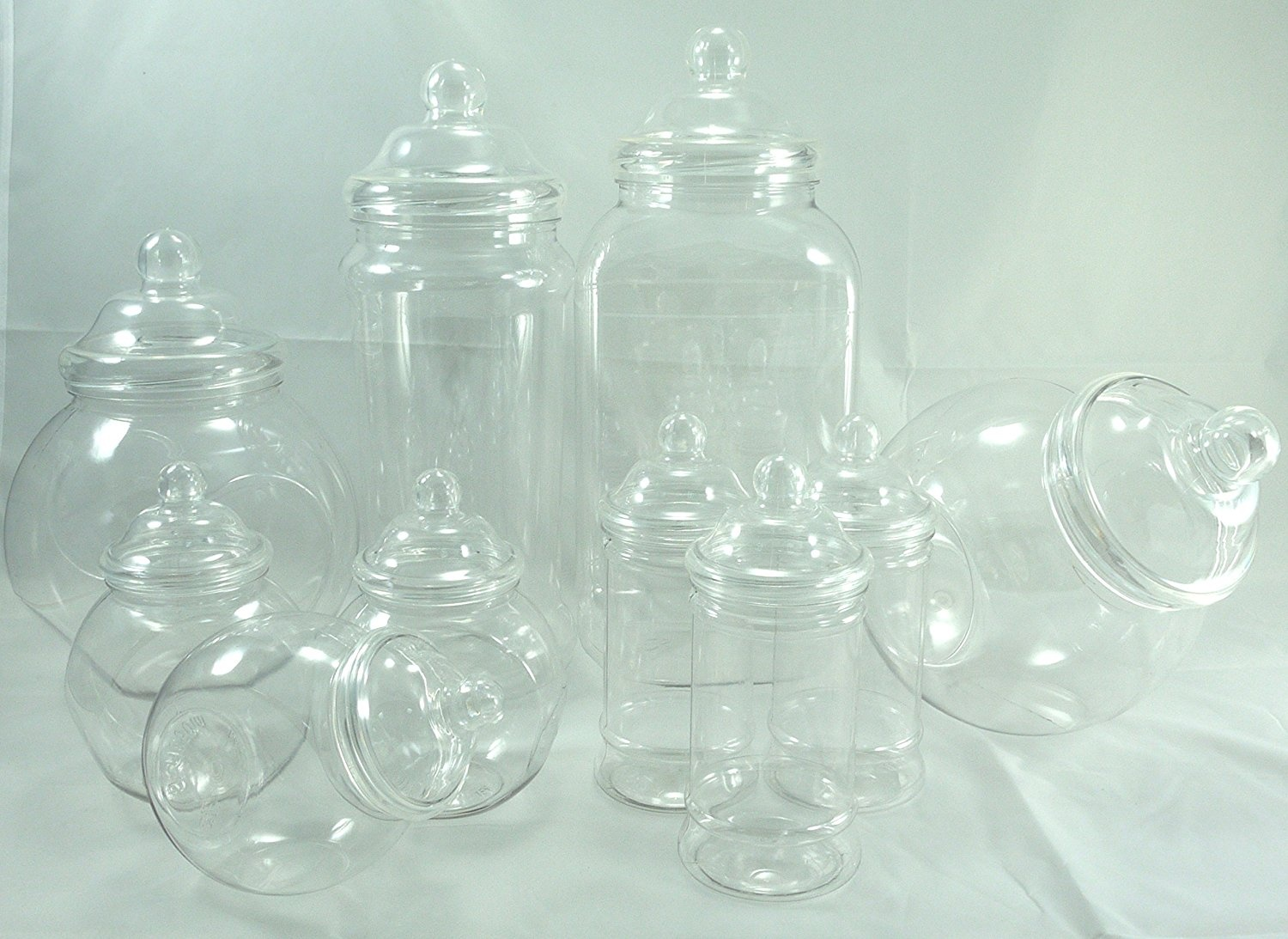 e51e1202375e PLASTIC JAR PARTY PACK OF 10 ASSORTED EMPTY CLEAR PLASTIC JARS WITH  DECORATIVE VICTORIAN STYLE BOBBLE SCREW TOP LIDS by Britten & James®. Brand  new ...