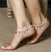 Aukmla Ankles for Women Summer Hot Crystal Tassels Fashion Chic Foot Chain