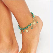 Aukmla Ankles Set for Women Bohemia Turquoise Tassels Fashion Chic Foot Chain