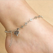 Aukmla Ankle Bracelet Silver Flower Heart Adjustable Chain Foot Anklet Retro Style