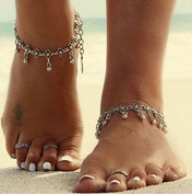 Aukmla Foot Chain Beach Tibetan Daisy with Dangle Beads Anklet Bracelet