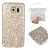 Galaxy S6 Back Case, Samsung Galaxy S6 Cover, Rosa Schleife 3D Creative Design Sparkle Luxury Bling Glitter Soft TPU Bumper Phone Case Protective Skin Shell Cases Covers for Samsung Galaxy S6