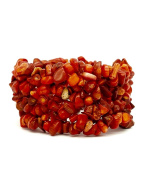 Red Coral Stone Chip Stretch Bracelet