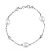 9mm White Freshwater Cultured Pearl & Crystal Stud Bracelet