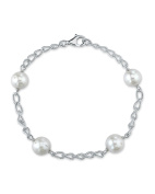 9mm White Freshwater Cultured Pearl Braided Link Bracelet