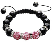Shamballa Crystal Ball bracelet by BodyTrend - Iced balls and Black Glass Beads - fits lovely on any wrist - perfect for a gift - packed in a cute velvet pouchette - Fits 18cm - 22cm
