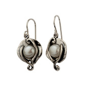 Unique Silver Earrings With Cabochon Pearl White Stone