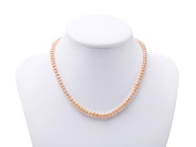 JYX 6-6.5mm Pink Flatly Round Cultured Freshwater Pearl Necklace Choker 15""