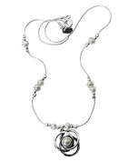 """Sterling Silver 6mm White Pearl Pendant Necklace ,20"""""""""""