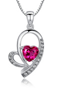 Sterling Silver Heart W. 1 Carat Created Ruby Pendant Necklace, Italian Box Chain SC042N5