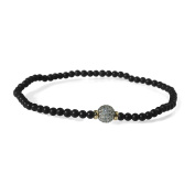 Men's White Pave Diamond Bead Matt Onyx 3mm Stretch Bracelet