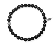 Men's Onyx Diamond Bead Sterling Silver Stretch Bracelet