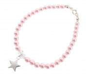 Chic A Boo Crystal Pink Pearl and Sterling Silver Star Bracelet of Length 17cm