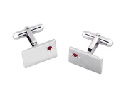 Solid Sterling Silver Rectangular Cufflinks with Real Ruby with Gift Box